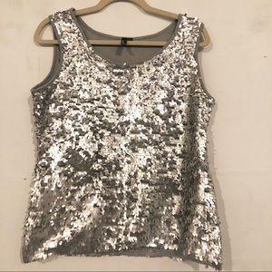 Silver sequins top